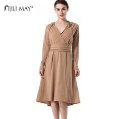 Big Deals $24.99, Buy JLI MAY Women midi dress hooded slim a-line v-neck long sleeve khaki autumn casual fashion ladies dresses womens clothing