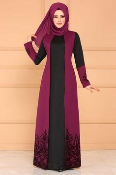 ELBİSE Flok Baskılı Elbise DNZ576 Şarabi Abaya Fashion, Modest Fashion, Fashion Dresses, Modest Dresses, Modest Outfits, Church Dresses, Estilo Abaya, New Dress Pattern, Hijab Style Dress