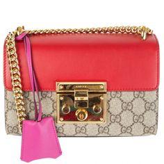 Gucci 'Padlock Small' GG Shoulder Bag GG Supreme Hibiscus/Pink 2016 Gucci Shoulder Bag, Small Shoulder Bag, Shoulder Strap, Gucci Padlock Bag, Orange Bag, Pink Beige, Monogram Canvas, Large Tote, Hobo Bag