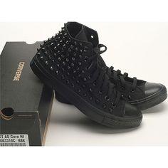 New Black Dark Color Custom Genuine Converse Spike Metal Stud Punk Rock Sneakers #Converse #CasualShoes