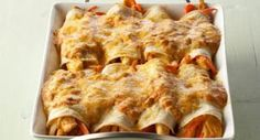 Sour Cream Chicken Enchiladas: These creamy enchiladas, stuffed with chicken, onion, bell pepper strips and green chiles and topped with melted cheese, will turn dinner into a Mexican fiesta.