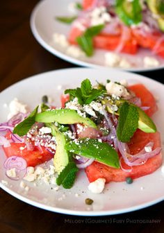 Jalapeno compressed watermelon salad recipe with avocados, feta, capers, red onion, fresh mint by Melody Fury | Food, Drink, Restaurant Photographer and Writer in Vancouver BC and Austin TX