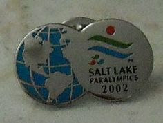 Salt Lake 2002 ParaOlymics Games Hat Pin Badge Silver Globe Earth Blue  - This Item is for sale at LB General Store http://stores.ebay.com/LB-General-Store