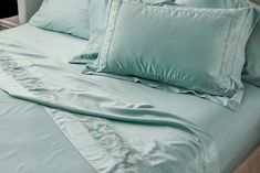 This freshening green mint colour combined with the luster and softness of the sateen weave makes this sheet set a nice addition that sheds another layer of comfort in your bedroom.  ORDER NOW! Mint Color, Mint Green, Green Colors, Colour, King Pillows, Pillow Shams, Luxury Bed Sheets, Egyptian Cotton Sheets, European Pillows