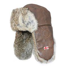 1f535106a7c Brown Leather   Genuine Rabbit Fur USHANKA - Soviet Russian Style Winter Hat  Aviator Hat