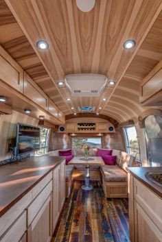 In this Modern Craftsman Airstream multi-function design was priority. Timeless integrated a pull-out counter which converts into a dining/ desk space.