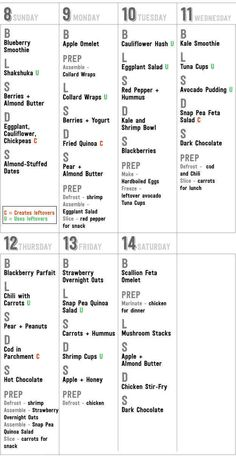 Here's a printable calendar of everything you'll need to do for Week 2: