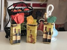 Miniature Bottle of Wine in Gift Bag, Dollhouse Miniature, 1:12 Scale, Mini Wine, Dollhouse Accessory, Decor, Crafts, Topper