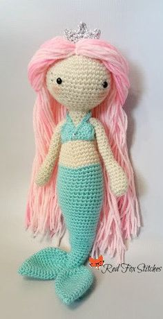 Mermaid DollCrochet mermaid mermaid toy pink by RedFoxStitches