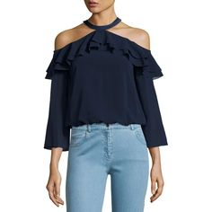Alice + Olivia Layla Cold-Shoulder Ruffle Blouse ($295) ❤ liked on Polyvore featuring tops, blouses, navy, navy blouse, frilly blouse, ruffle blouse, cold shoulder tops and blue blouse