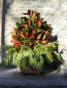 winter arrangement for front door urns