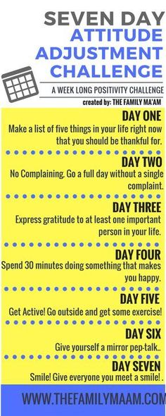 Seven Day Attitude Adjustment Challenge: Seven days to a positive mind. lol this is just 7 days. Mental Training, New Energy, Me Time, Positive Thoughts, Positive Outlook, Quotes Positive, Positive Attitude, Attitude Quotes, Positive Vibes
