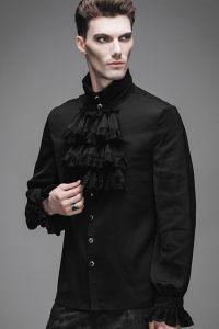 Viktorianisches Rüschenhemd mit gerüschten Manschetten - schwarz
