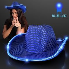 3b9339873ea Blue Cowboy Hat w Blue Lights Brim  Blue Sequin Cowboy Hat is gonna light up  the dance floor! Flashing Cowboy Hats are a hit at fairs