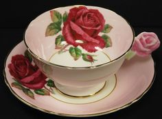 Vintage Paragon Rose Flower Handle Cup & Saucer // Pink Red & White w Gold