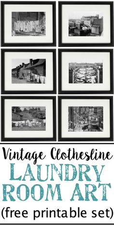 Vintage Clothesline Laundry Room Art Printable Set | blesserhouse.com - A free downloadable printable set of 6 vintage black & white clothesline cityscape and countryscape photos perfect for framing in a laundry room.