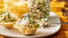 Parmesan cups with smoked chicken salad recipe Fast Ed - Yahoo7