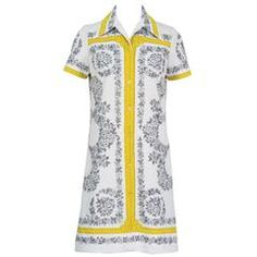 1960's Mr. Dino Printed Shirt Dress   From a collection of rare vintage mini dresses at https://www.1stdibs.com/fashion/clothing/day-dresses/mini-dresses/
