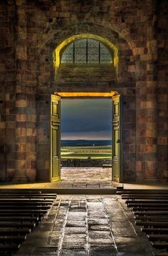 View from a doorway at Mont Saint-Michel, Normandy, France
