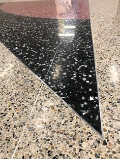 floor at New North Shelby High School Terrazzo Flooring, Commercial Flooring, Floor Design, Floors, Cinema, Home Decor, Granite, Hall, Projects