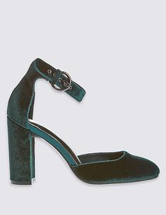 Velvet Block Heel Court Shoes with Insolia®