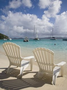 Two Empty Beach Chairs on Sandy Beach on the Island of Jost Van Dyck in the British Virgin Islands Photographic Print by Donald Nausbaum at AllPosters.com