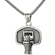 Basketball Pendant Sports Necklace Stainless Steel Chain Fitness Jewelry Gold for sale online Basketball Accessories, Basketball Necklace, Basketball Is Life, Basketball Stuff, Basketball Birthday, Basketball Quotes, Women's Basketball, Baskets, Stainless Steel Chain
