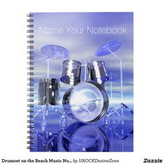 Drumset on the Beach #Music #Notebook  #drums     #zazzle