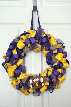 Purple and Gold LSU Ribbon Wreath Geaux Tigers with baseball instead of football