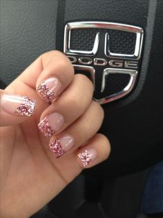Nail art is a very popular trend these days and every woman you meet seems to have beautiful nails. It used to be that women would just go get a manicure or pedicure to get their nails trimmed and shaped with just a few coats of plain nail polish. Glitter Tip Nails, Pink Nails, My Nails, Glitter Pedicure, Gold Nails, Acrylic Nail Designs Glitter, Pink Sparkle Nails, Pink Sparkles, Silver Tip Nails