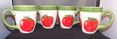 Tabletops Avenue Apple Valley Handpainted Set of 4 Apple Coffee Mugs/Cups #TabletopsAvenue