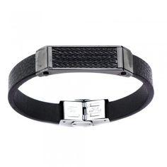 Men's Black Leather and IP Black Cable Pro Bracelet