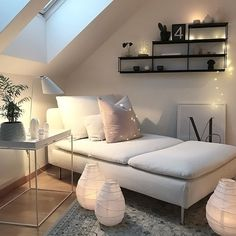 Love this cosy attic living space ♡
