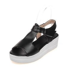MayMeenth Women's PU Solid Hook-and-loop Open Toe Kitten-Heels Platforms and Wedges >>> More info could be found at the image url.