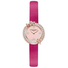 Chaumet's bright pink Hortensia collection Eden watch with a pink opal dial and white diamonds. http://www.thejewelleryeditor.com/jewellery/article/chaumet-eden-hortensia-liens-jewellery-watches-for-summer/ #luxury