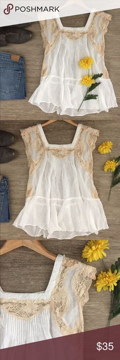 Free People Lace Top 🌼 Adorable Free People sheer white and tan top. Features square neckline, pleated center, and lace details at neckline, sleeves and sides.  Raw seaming that intentionally frays.  So beautiful and feminine!  In excellent condition. Free People Tops