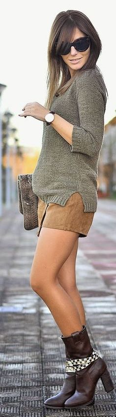 Camel Suede Skirt Black Booties White Blouse Olive Pullover Sweater