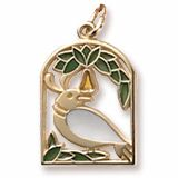 Christmas Gold Charm. The first of the Twelve Days of Christmas Charm. Charm features a partridge in a pear tree.    http://www.charmnjewelry.com/gold-charms.htm  #GoldCharm