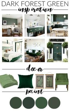 Hunter Green: Paint, Decor and Inspiration Dark hunter green paint, decor and inspiration for creating a beautiful high contrast home.Dark hunter green paint, decor and inspiration for creating a beautiful high contrast home. Green Home Decor, Retro Home Decor, Unique Home Decor, Diy Home Decor, Green Decoration, Emerald Green Decor, Living Room Green, Bedroom Green, Green Rooms