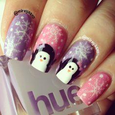 Girly penguin winter nails!❄️ #christmas nails