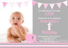 Little Peanut Elephant Girl Printable Photo Digital Birthday Invitation 1300 Via Etsy Summer