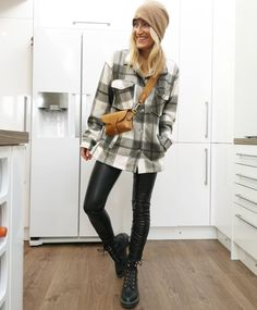 Plaid shirt, leather leggings and lace-up boots | For more style inspiration visit 40plusstyle.com