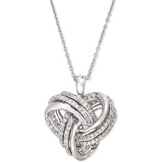 Wrapped in Love Diamond Heart Pendant Necklace in Sterling Silver (1/4... ($147) ❤ liked on Polyvore featuring jewelry, necklaces, accessories, sterling silver pendant, sterling silver necklaces, necklaces & pendants, diamond jewelry and heart shaped necklace