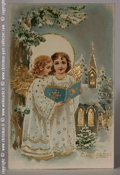 Two Singing Angels with Golden Wings - antique Postcard