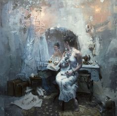 "Demure Jeremy Mann | Jeremy Mann, ""A Long Abandoned Dream"" - 48 x 48 in. Oil on Panel 2013"