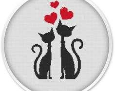 Cats Love Cross Stitch Patterns, Cross Stitch PDF, Cross stitch pattern love, valentine's day, Cats love.#079