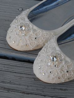 Shimmer Lace Bridal Ballet Flats Wedding Shoes - Any Size - Pick your own crystal color by BeholdenBridal on Etsy https://www.etsy.com/listing/213453235/shimmer-lace-bridal-ballet-flats-wedding