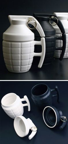 Grenade mugs // make your tea and coffee a blast! Haha... #product_design