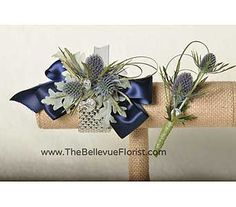 Thistle in a wrist corsage and matching boutonniere!  Very cool.  www.thebellevueflorist.com