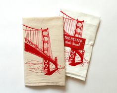 Flour Sack Dish Towel - Golden Gate Bridge in red ink - San Francisco Bay Area Landmark on Etsy, $12.50